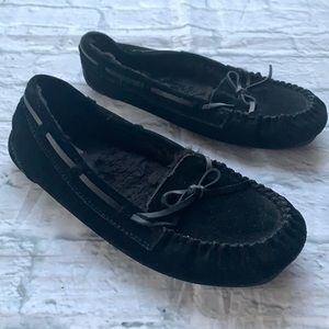SO Suede Faux Fur Lined Slippers Black